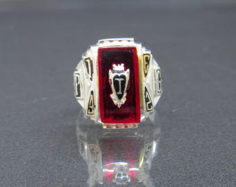 Vintage Sterling Silver Red Ruby 1962 High School Mens Ring Size 9.75