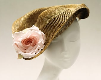Hat for Races - Ladies Sculpted Straw Fascinator Hat w/ Upturned Back - Sweeping Brim & Silk Rose - The Mint Royale Hat