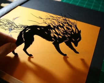 Original Paper Cutting - Wolf