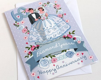 Diamond Wedding Anniversary Card - Large card (A5) - 60th Wedding Anniversary Card - Diamond Wedding Card - 60th Wedding Card