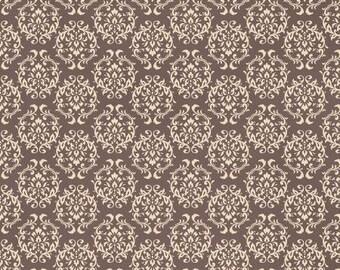 Ruru Bouquet Love Rose Love Cotton Fabric Rose ru2300-17c Damask Pattern White on Brown