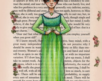 Jane Austen Art - Emma Woodhouse - Mine Is An Active Busy Mind - 5 x 7 print