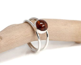 Amber Ring | Amber Jewelry | Sterling Silver Gemstone Ring | Unique Ring | 925 Silver Ring | Amber Jewellery UK