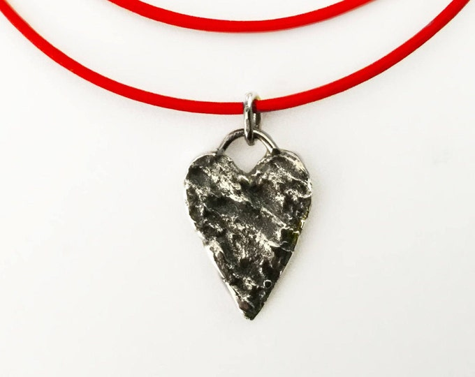 Sterling Silver Organic Heart on Red Leather