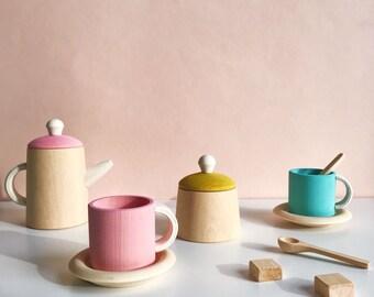 Wood Tea set | Toy Tea set | Wooden Tea Set | Wooden food play set | Waldorfl tea set | Kitchen play set | Pretend play