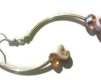 Earrings, shell earrings , crystal Dangle Earrings
