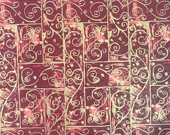 "Burgundy Swirls Christmas Tissue Paper Gift Wrapping Flower Making 20""x30"""