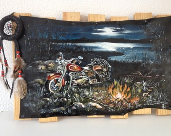 "Painting on leather ""Sweet night ...biker"" dream catcher"