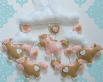 Pink Horse Baby Mobile, Pink Horse Mobile, Nursery Mobile, Crib Mobile, Girl Mobile, Girl Nursery Mobile