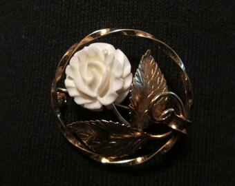 Vintage--Circle--Ladies Brooch--White Carved Flower--Gold Leaves--K.L. 12K Gold Filled--Signed