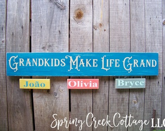 Wood Signs, Grandkids Make Life Grand, Signs,  Personalized, Grandchildren, Wood Signs, Rustic Signs, Handpainted Signs, Baby Shower, Kids