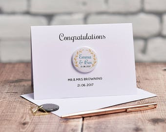 Laurel Wedding Engagement Badge Card - Wedding card - Engagement Card - Personalised Card