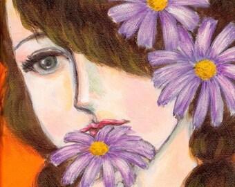 daisy girl artwork - A Girl With Daisies - girl's room decor, desk decoration, art card, purple daisy painting, girl in flowers