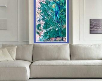 abstract art giclee print original painting green paper art living room wall art paper modern acrylic print original wall art green blue art
