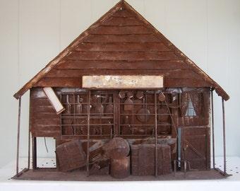 Metal Wall Sculpture / Salvage Metal Folk Art / Vintage General Store / Western Decor / Tramp Art / Rustic Decor /
