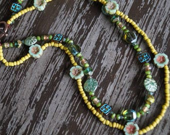 Boho Green Necklace - Green Multi Strand Rustic Necklace - Olive Green - Spring Flowers Necklace - Bead Soup Jewelry