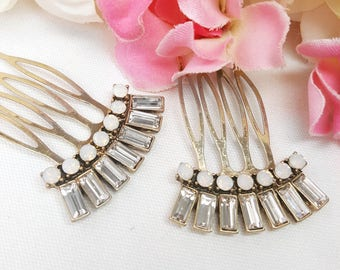 Two Gold Art Deco Hair Combs, Set of 2, 1920's Hair Accessories, Vintage Style Bridal Hair Comb, Pair of Crystal Hair Pins, Gatsby Weddings