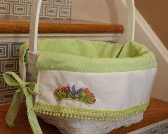 READY medium 12 inch white basket with light green liner and hand embroidered flowers