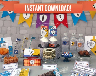 Medieval Knights Birthday Party Printable Collection & Invitation - Editable PDF file - Print at home