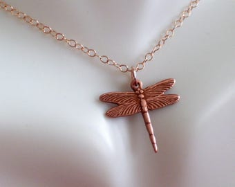Tiny Rose Gold Dragonfly Pendant Necklace, Rose Gold Filled Necklace, Rose Gold Jewelry, Minimalist Necklace, Dainty Dragonfly Necklace
