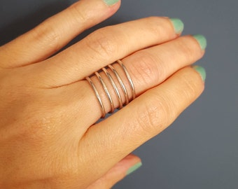 Sterling silver stacking ring - Sterling silver spiral ring -  Wire wrapped ring - Stacking ring - Sterling silver ring - Wire wrap ring