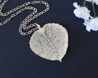 Silver Aspen Silver Leaf Necklace, Real Leaf Necklace, Aspen Leaf, Sterling Silver Leaf Necklace, LC120