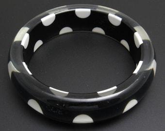 Vintage Lucite Bangle Bracelet Black and White Polka Dot Jewelry B7768