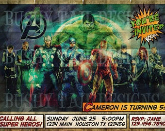 The Avengers Birthday Invitation