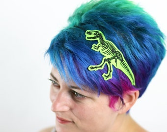 T. Rex Skeleton Dinosaur Headband, Choice of Colours, On Green