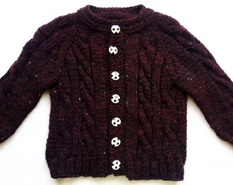 Childs Knit Sweater Long Sleeves Dark Claret