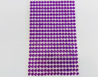 Plate 468 rhinestone stickers 4mm purple cabochon