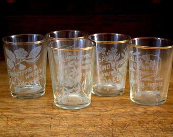 Old Fashioned Glasses 14K Rims Set x 5