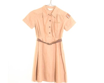 Vintage 1950s Brown Official Girl Scout Short Sleeve Button Up Belted Cotton Girls Uniform