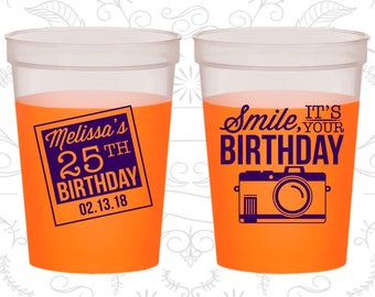 25th Birthday Mood Cups, Smile, its your birthday, vintage camera, Birthday Color Changing Cups (20053)
