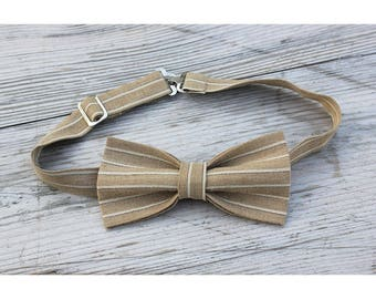 Beige linen bow tie with white stripes