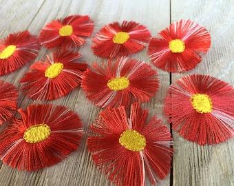 NEW FUZZY FLOWER appliqués iron-on--set of 10