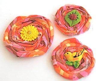 Yellow Bird Daisy and Ladybug Fabric Flower Embellishments