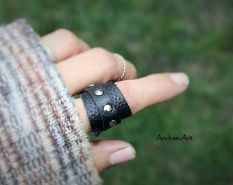 Leather Ring Upcycled Repurposed Black Textured Upholstery Leather Hand Riveted Closure Size 8US