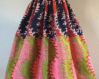 Beautiful African Wax Print High Waisted Skirt Fit and Flare Green Pink Navy Red Mixed Print 100% Cotton