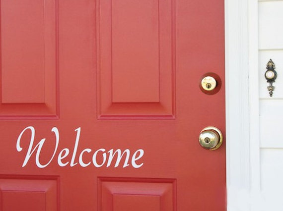Welcome front door decor vinyl decal 3 tall x 11 long choose your font and color