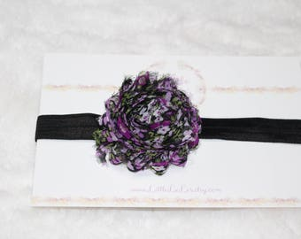 Newborn/Baby/Toddler Multicolored Shabby Flower Headband With Black Elastic