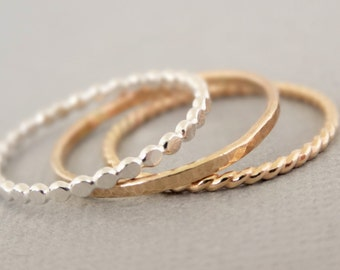 Gold Rings and Silver Ring thin hammered stacking rings mixed metal