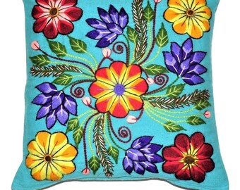 Pillow Cover Embrodery Floral Design from Ayacucho Peru - Handmade with Sky Blue  Loom