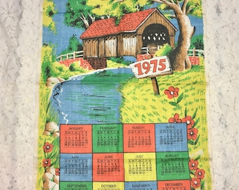 "Vintage Calendar Towel. 1975. Linen Tea Towel. Covered Bridge. ""Guide Our Humble Home."""