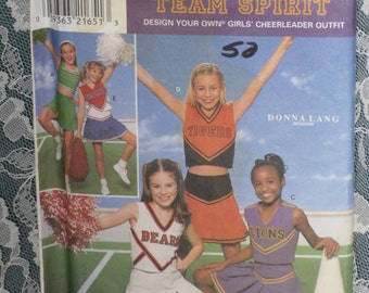 Simplicity 8294 Pattern Girl's Cheerleader Outfit Costumes Size 7 8 10 Uncut