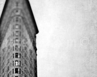 New York City Print, Flatiron Building, Black and White New York Photography, Vertical Image, Triangulation