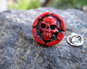 Hand made skull lapel pin, skull lover gift, goth lapel jewelry