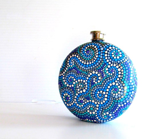 Round  Flask: Hand Painted 10 fl oz Stainless Steel flask Wedding gift Groomsman Groom