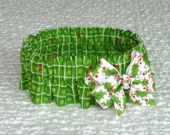 "Ruffle Dog Collar, Holly Squares Christmas Dog Scrunchie Collar with holly bow - Size L:  16"" to 18"" neck - REDUCED PRICE"