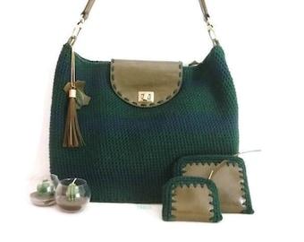 Big Bag handmde with crochet in green color  Pikeros model 044